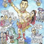 A cartoon commissioned by a friend of Amir Khan's, as a wedding gift.