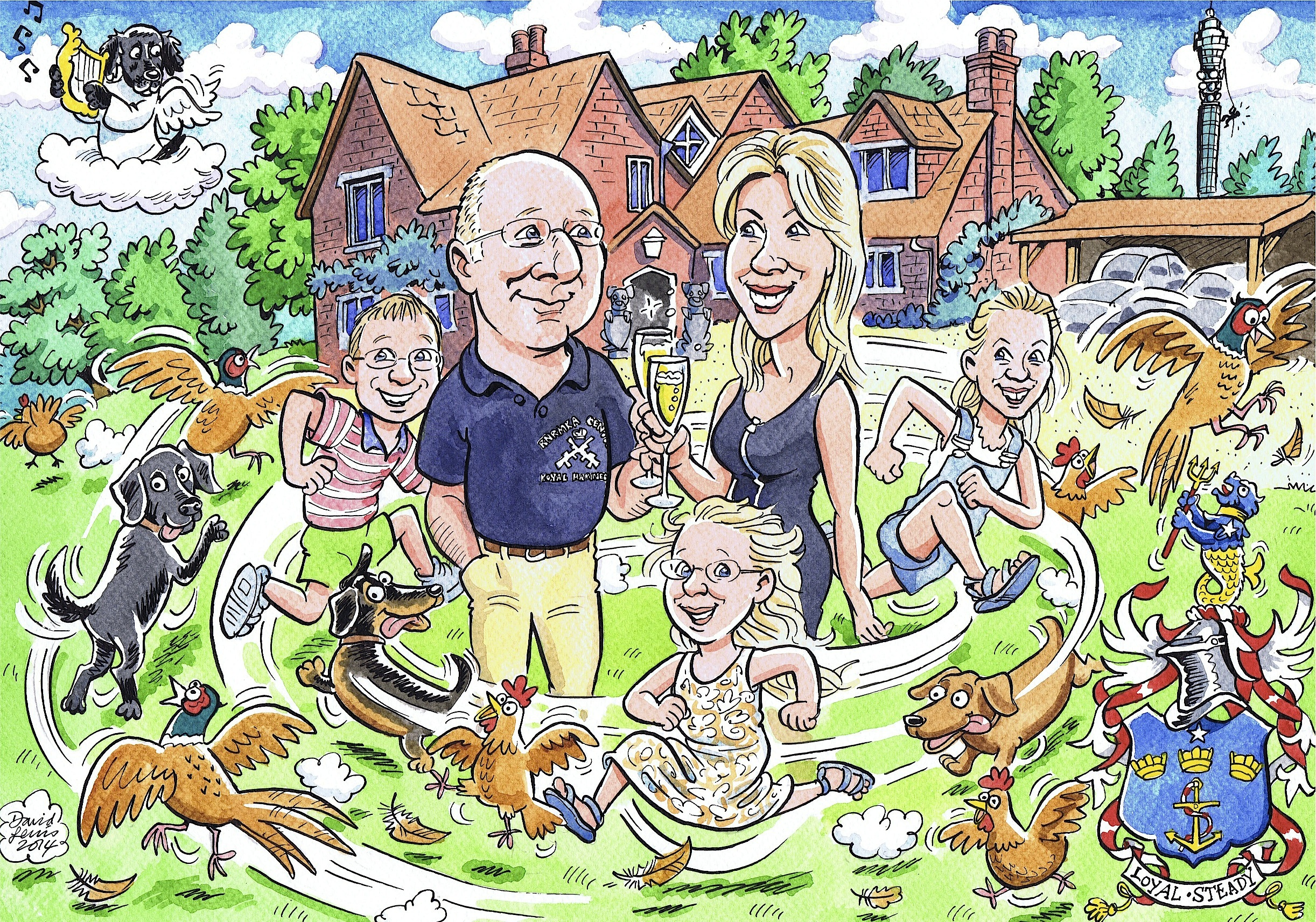 A family caricature with assorted pets, one of whom had passed away but couldn't be left out...