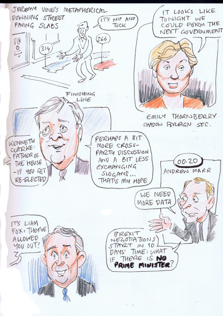 General Election cartoons, Andrew Marr, Kenneth Clarke, Emily Thornberry, Liam Fox, Jeremy Vine